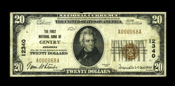 13164: Gentry, AR - $20 1929 Ty. 1 The First NB Ch. #