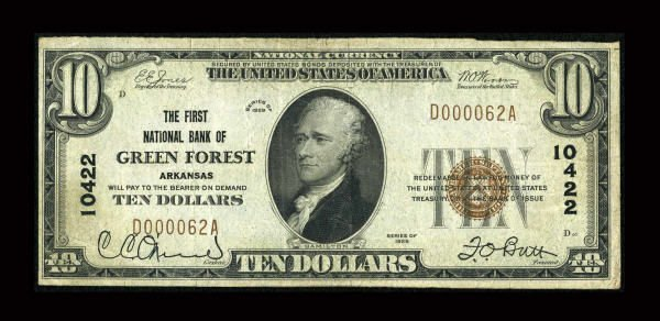 13165: Green Forest, AR - $10 1929 Ty. 1 The First NB