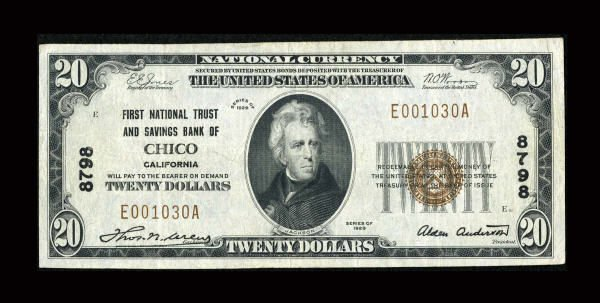 13172: Chico, CA - $20 1929 Ty. 1 First National &