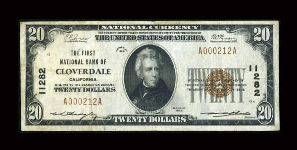 13173: Cloverdale, CA - $20 1929 Ty. 1 The First NB Ch.