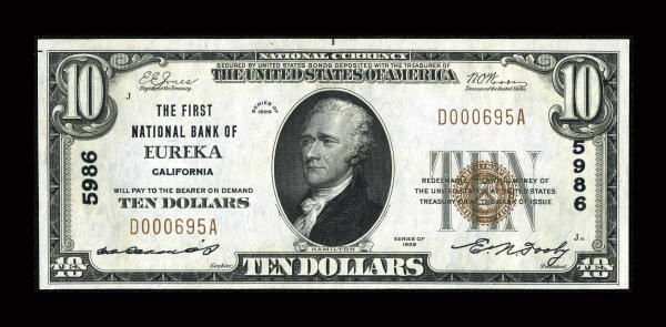 13178: Eureka, CA - $10 1929 Ty. 1 The First NB Ch. #