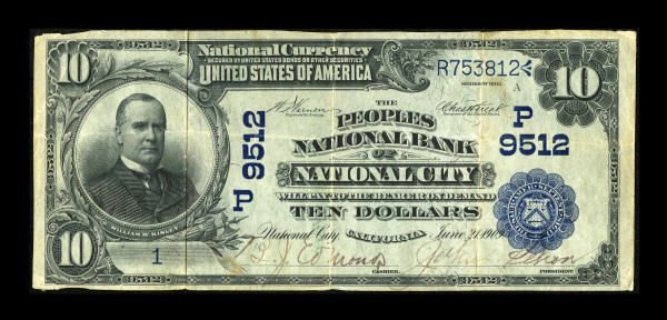 13196: National City, CA - $10 1902 Date Back Fr. 618