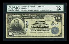 13290: Gainesville, FL - $10 1902 Plain Back Fr. 629