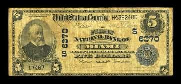 13291: Miami, FL - $5 1902 Plain Back Fr. 598 The First