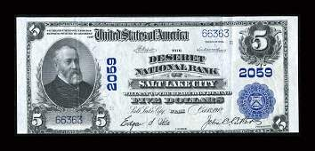 13928: Salt Lake City, UT - $5 1902 Plain Back Fr. 602