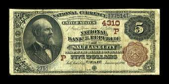 13931: Salt Lake City, UT - $5 1882 Brown Back Fr. 474
