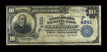 13932: Salt Lake City, UT - $10 1902 Plain Back Fr. 628