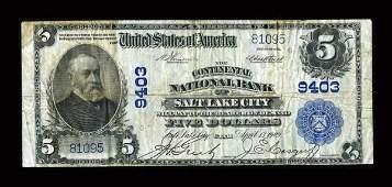 13933: Salt Lake City, UT - $5 1902 Plain Back Fr. 600