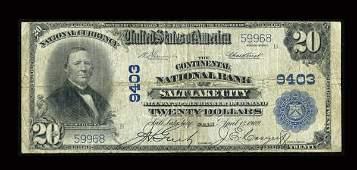 13934: Salt Lake City, UT - $20 1902 Plain Back Fr. 652