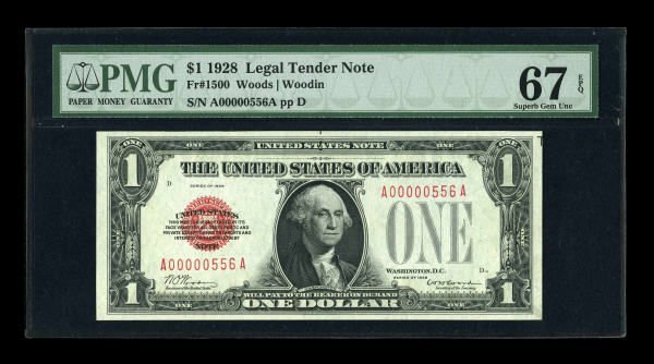 14004: Fr. 1500 $1 1928 Legal Tender Note. Low Serial