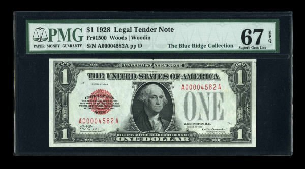 14005: Fr. 1500 $1 1928 Legal Tender Note. PMG Superb