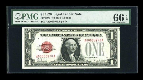 14006: Fr. 1500 $1 1928 Legal Tender Note. PMG Gem