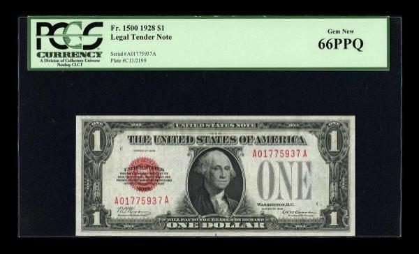 14008: Fr. 1500 $1 1928 Legal Tender Note. PCGS Gem New