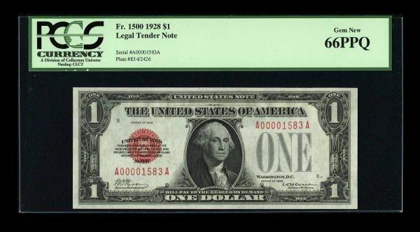 14009: Fr. 1500 $1 1928 Legal Tender Note. PCGS Gem New