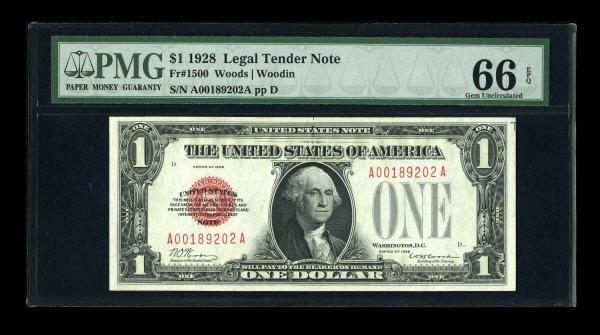 14011: Fr. 1500 $1 1928 Legal Tender Note. PMG Gem