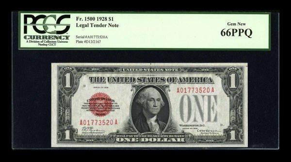 14012: Fr. 1500 $1 1928 Legal Tender Note. PCGS Gem New