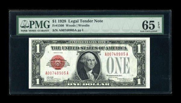 14016: Fr. 1500 $1 1928 Legal Tender Note. PMG Gem