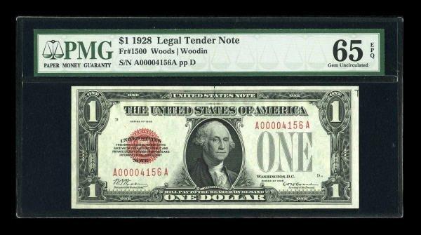 14018: Fr. 1500 $1 1928 Legal Tender Note. PMG Gem