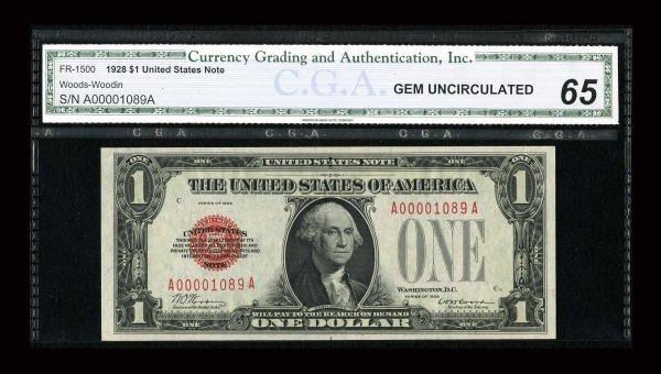 14020: Fr. 1500 $1 1928 Legal Tender Note. CGA Gem