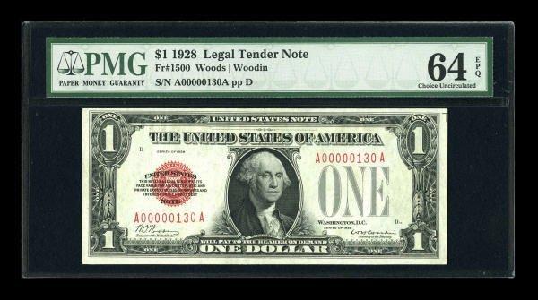 14021: Fr. 1500 $1 1928 Legal Tender Note. Low Serial