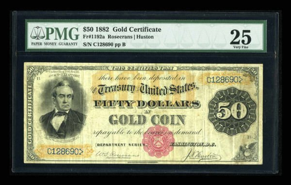 14929: Fr. 1192a $50 1882 Gold Certificate PMG Very