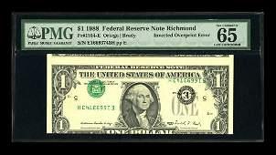14743: Fr. 1914-E $1 1988 Federal Reserve Note. PMG Gem
