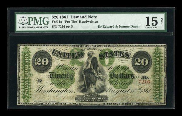 14862: Fr. 11a $20 1861 Demand Note PMG Choice Fine 15