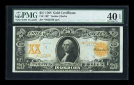 16055: Fr. 1186 $20 1906 Gold Certificate PMG Extremely