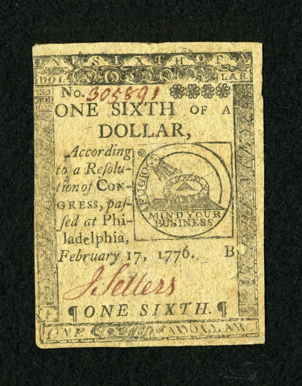 17002: Continental Currency February 17, 1776 $1/6 Very