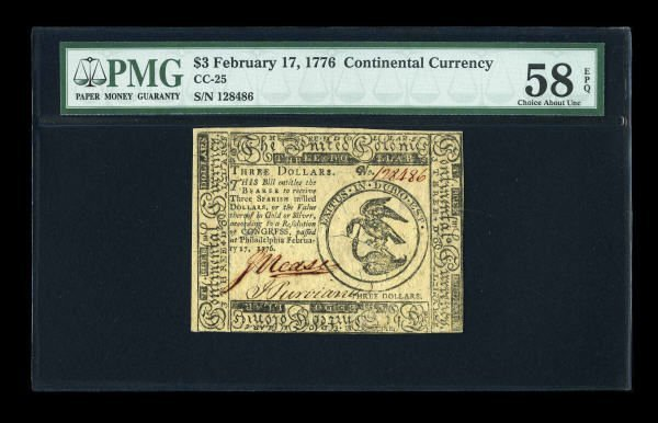 17004: Continental Currency February 17, 1776 $3 PMG