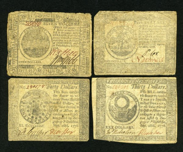 17007: Four Circulated Continentals.