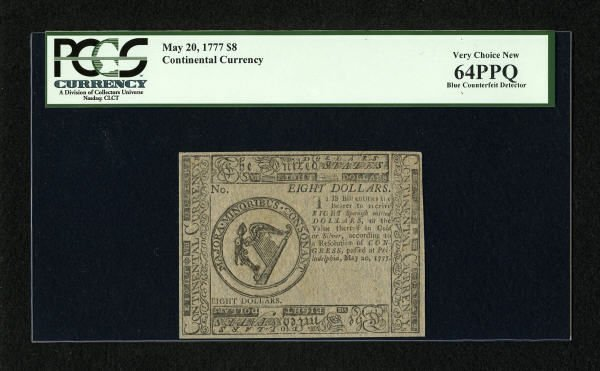 17010: Continental Currency May 20, 1777 $8 Blue