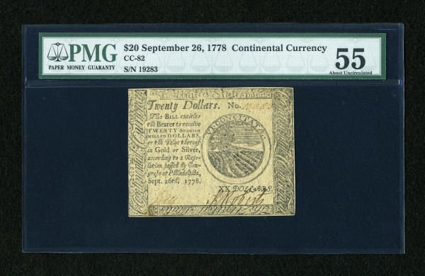 17013: Continental Currency September 26, 1778 $20 PMG
