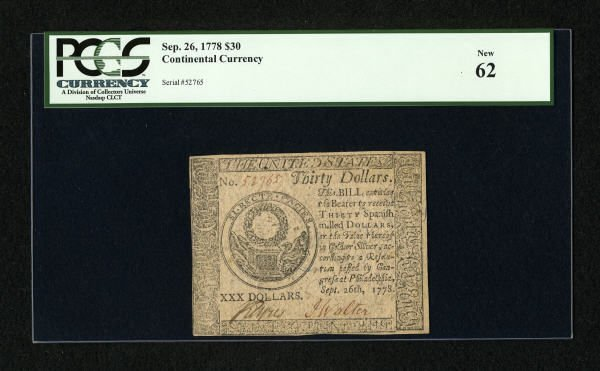17014: Continental Currency September 26, 1778 $30 PCGS