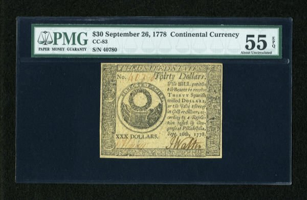 17015: Continental Currency September 26, 1778 $30 PMG
