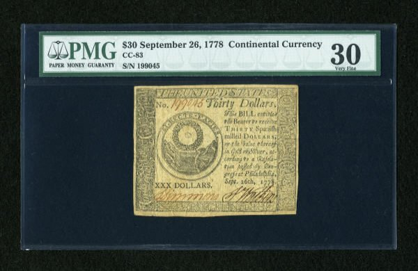 17016: Continental Currency September 26, 1778 $30 PMG