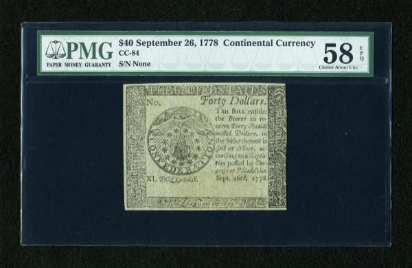 17017: Continental Currency September 26, 1778 $40 Blue