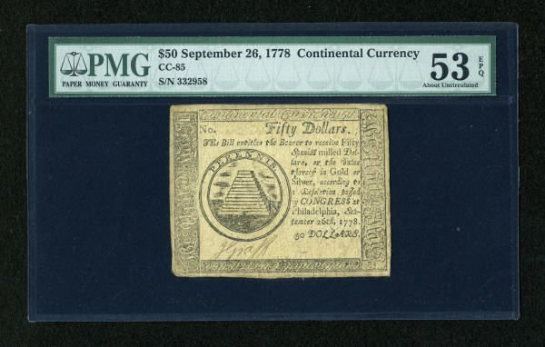 17018: Continental Currency September 26, 1778 $50 PMG