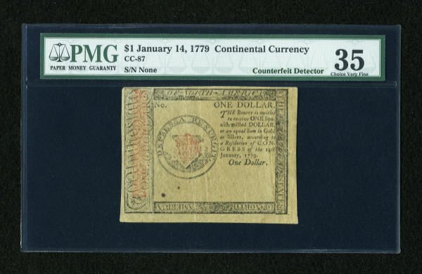 17020: Continental Currency January 14, 1779 $1 Blue