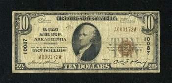 17723: Arkadelphia, AR - $10 1929 Ty. 1 The Citizens NB