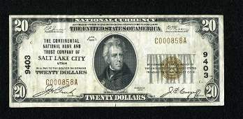 18017: Salt Lake City, UT - $20 1929 Ty. 1 The