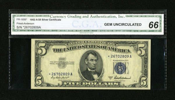 18267: Fr. 1656* $5 1953A Silver Certificate Star Note.