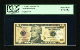 18413: Fr. 2039-F* $10 2004A Federal Reserve Star Note.