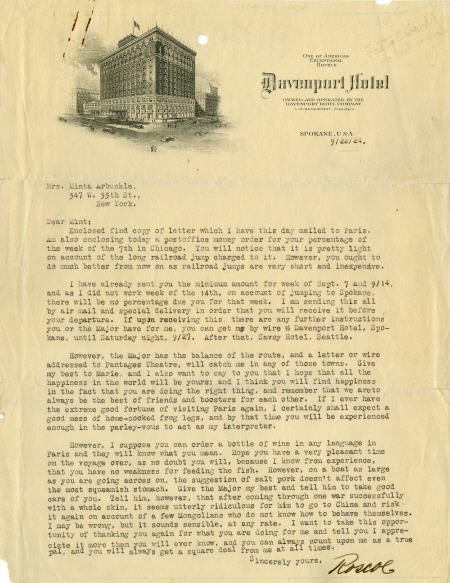 "49002: Fatty Arbuckle 1924 Typed Letter Signed ""Roscoe"""