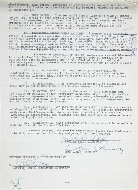 49003: Lucille Ball & Desi Arnaz: Signed Contract