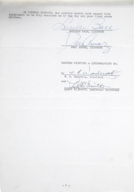 49004: I Love Lucy Merchandising Contracts, One Signed