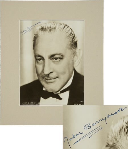 49006: John Barrymore Signed Photo.