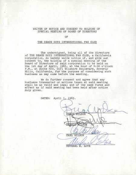 50002: Beach Boys Autographed Document.