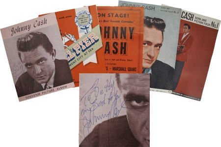 50006: Johnny Cash Signed Tour Book & Others.