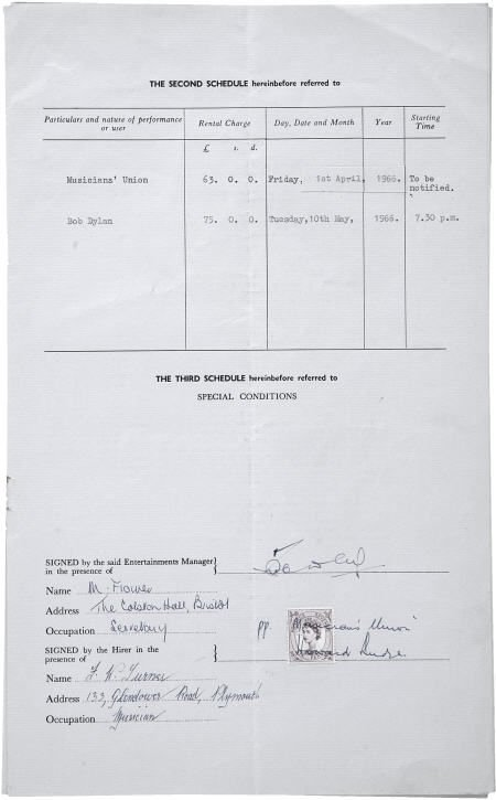50015: Bob Dylan Unsigned Performance Contract (1966).